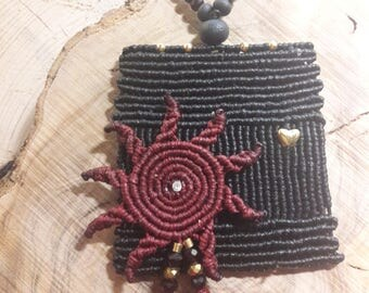 Macrame Boho ,minimalist Necklace, Hippie, Gipsy, Pendant with Sun,Unique, made by Chrysa's Hands