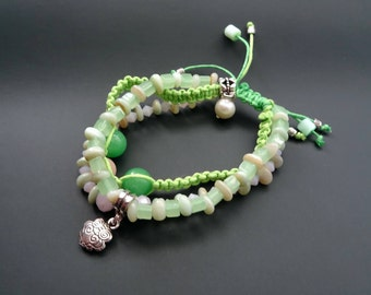 Beautiful Bracelet Exclusive Design, Natural Stones and Glass, Handmade ~ 24 g