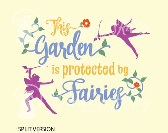 Garden saying svg, garden sign svg, Protected by fairies svg, ai dxf emf eps pdf png psd svg svgz tif files for cricut, silhouette, brother