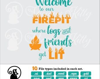 Fire pit sign svg, back yard sign svg, firepit, stencil svg, ai dxf emf eps pdf png psd svg svgz tif files for cricut, silhouette, brother
