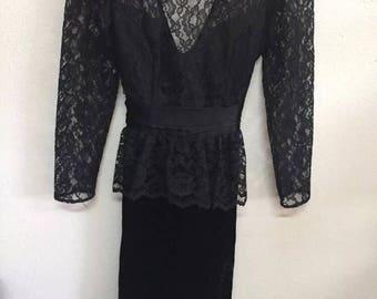 Vintage Gunne Sax Long Sleeve Dress Size 5 Black Lace and Velvet by Jessica McClintock - Prom Dress