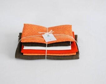 Linen fabric remnants, fabric scraps bundle, dark chocolate orange linen, linen craft kit, linenforest, cheap fabric for crafts, patchwork
