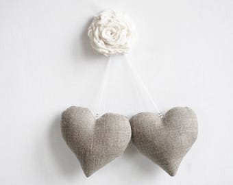 Burlap linen wedding heart, fabric heart ornaments, Valentines hearts, rustic wedding decor, wedding hearts ornament, linen favor gifts