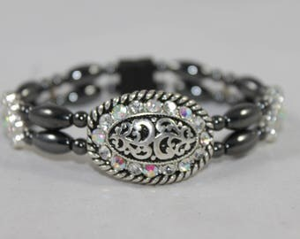 Silver Rhinestone Floral Concho High Quality Magnetic Bracelet