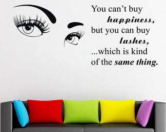 Wall Decal Window Sticker Beauty Salon Woman Face Eyelashes Lashes Eyebrows Brows t678