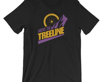 Bike Above The Treeline (Gold/Purple), An Outdoor Hiking and Mountain Biking T-shirt for the Adventurer