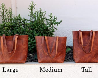 Tote bag Tote bag with pockets Tall leather tote bag Tobacco distressed waxed structured leather Hand stitched shopper   full grain leather