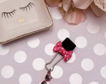 Pink Polka Dots & Sunglasses; pen clip, pen loop