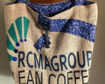 Re-Purposed Coffee Bag, Blue Flower Tote