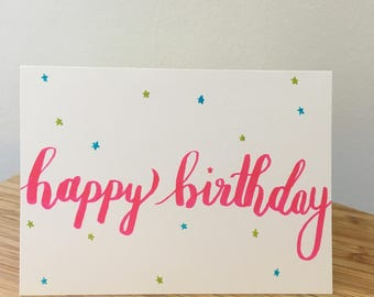 Hand Drawn Happy Birthday Card with Stars