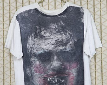 The Texas Chainsaw Massacre shirt, Leatherface horror movie T-shirt, soft white tee, Tobe Hooper, vintage rare