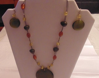 Multi Colour Beaded Necklace and Earring Set