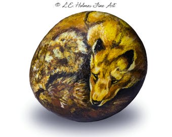 Red Fox Painted on Stone | Rock Painting Art
