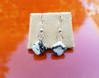 Polymer Clay Handmade Diamond Marble Black and White Dangle Earrings Jewelry Cute Pretty Girls Women