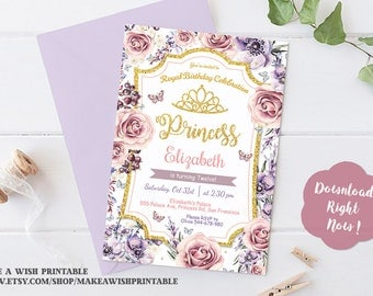 Purple and Gold Birthday Invitation, Princess Invitations, Floral Birthday Invitation, Pink and Purple Crown Birthday Printables, Editable