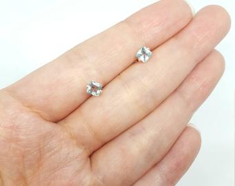 Sterling Silver Blue Crystal Simple Stud Earrings