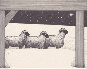 1980s vintage note card picturing 3 sheep on a winter night -- by Long Winter Farm in Vermont