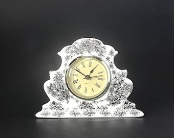 Vintage Ceramic White/ Black Floral / Quartz Clock