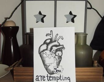 "Realistic heart ""You are Tempting"" (drawing replica)"