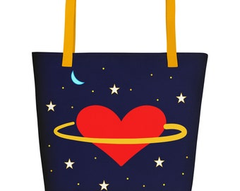 Stars, Moon and Red Heart Planet - Space Travel to Love Beach Bag