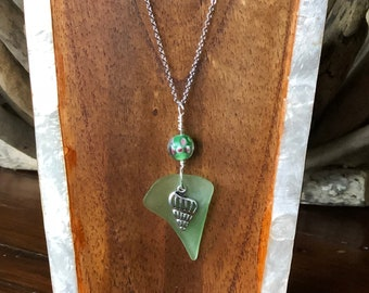 Green Shell Charm Sea Glass Necklace