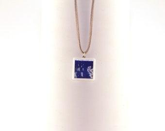 Pendant/Neckless adjustable in molten glass tile - Blue Veracruz