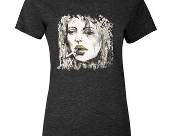 "Artistic Round Neck Tee | ""Woman With Cigarette"" Round Neck Tee 