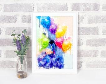 Eeyore Watercolor Print, Winnie the Pooh, Disney Watercolor Print, Disney Art Poster, Disney Art Print, Disney Poster, Eeyore Poster