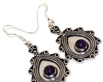Amethyst Antique Style Handmade 925  Silver Plated Pendant