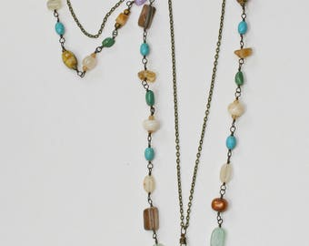 Multi-Gemstone 2-Strand Necklace  FREE SHIPPING