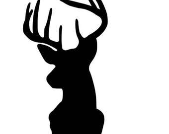 Deer head silhouette vinyl decal