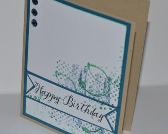 Hand Stamped Teal Textures Birthday Card