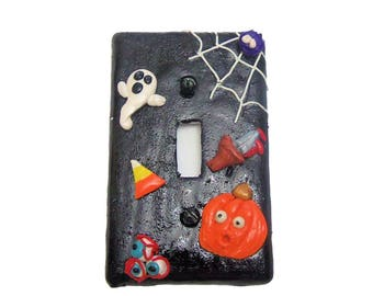 Halloween Light Switch Cover - Pumpkims spiders ghosts and candy corn - Fun Halloween Decoration