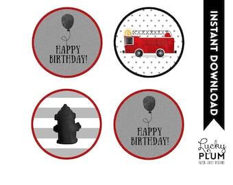 Firetruck Cupcake Toppers / Fire Engine Cupcake Toppers / Firetruck Round Labels / Fire Engine Round Labels