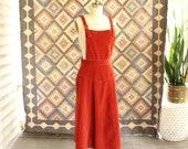 "1970s apron dress . brick orange corduroy pinafore dress AS IS SALE . 70s cord overall dress . 30"" waist, womens large"