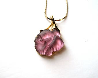 signed vintage Parklane frosted glass orchid necklace . lavender purple flower necklace on long gold chain