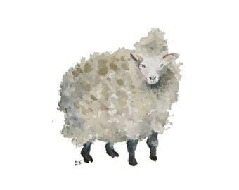 Sheep blank greeting card reproduction of my original watercolor ink illustration drawing of barnyard farm animal lamb wool