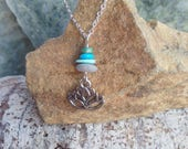 Silver Lotus Charm Necklace Rock Cairn Turquoise Yoga Buddhist Jewelry