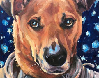 Astronaut Dog Portrait Painting with Starry Night Background