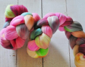 Hand Dyed Merino Top Wool Roving - Hand Painted - Spinning - Felting - Summer Kisses - 3.9 Ounces