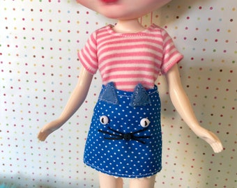 Kitty Cat Mini Skirt for Blythe / Blue Polka Dot