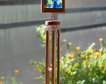Windchimes Sea Glass Stained Glass Copper Large Outdoor Wind Chime