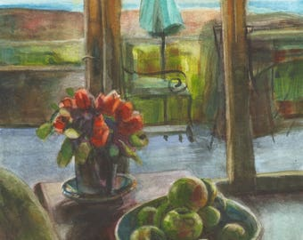 Flirting - Roomscape Interior still life Roses and Apples in watercolor Belinda DelPesco