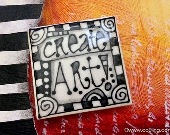 Gift for Artists - Create Art -  Refrigerator Magnet Art - Clay / Pottery 2X2 Hand Painted Ceramic Tile by artist, Cindy Couling