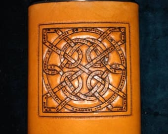 Celtic Leather Whiskey Flask Glammis Manse Stone Knot, with Vulgate passage