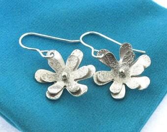 Flower Earrings, layered sterling silver flower earrings by Kathryn Riechert