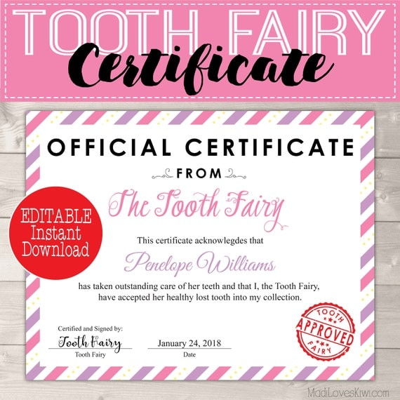 Certificate from tooth fairy printable letter creative lost tooth il570xn spiritdancerdesigns Image collections