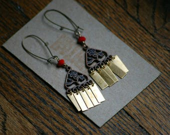 Copper Flower Cut Out Boho Earrings with Faceted Red Crystal Beads and Brass fringe, Long Kidney Wires, One Of A Kind