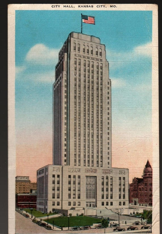 City Hall + Kansas City, Missouri + Vintage Linen Postcard