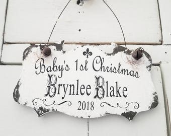 Personalized BABY'S FIRST CHRISTMAS Ornament | Christmas Ornament with Baby's Name | Custom Baby Christmas Ornament | 1st Christmas Ornament